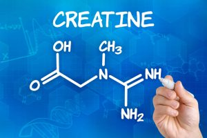 Hand with pen drawing the chemical formula of creatine illustrating how its used with the psmf diet