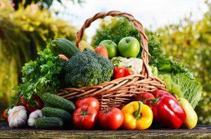 wicker basket showing psmf vegetables