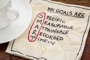 my goals are smart - goal setting concept - handwritten text on a napkin with coffee