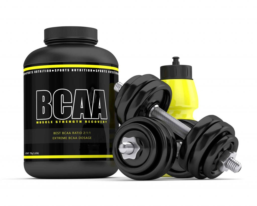 3d render of BCAA powder with dumbbells and water bottle isolated over white background