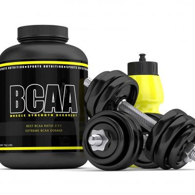 3d render of BCAA powder with dumbbells and water bottle isolated over white background for psmf diet