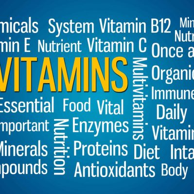 Vitamins word cloud on blue background