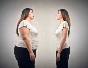 a bigger woman shrinking to a smaller man showing rapid fat loss