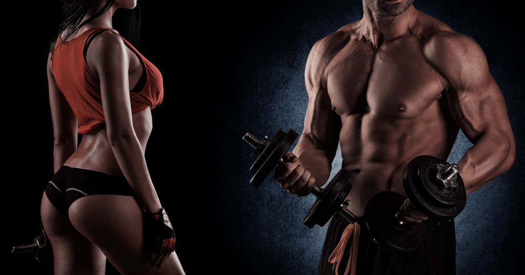 young beautiful couple, bodybuilding, posing in front of the camera, sexy, strong