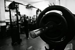 a weight room in black and white color