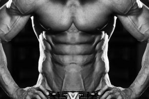 Close Up Of A Perfect Abs - Black And White Photo taking winstrol