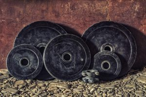 weights sitting against the wall