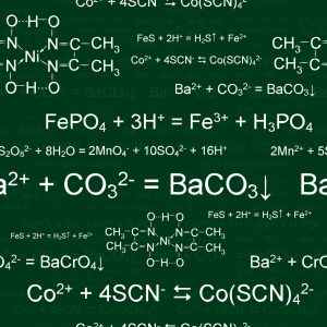 Seamlessly wallpaper chemistry scribbles on green blackboard