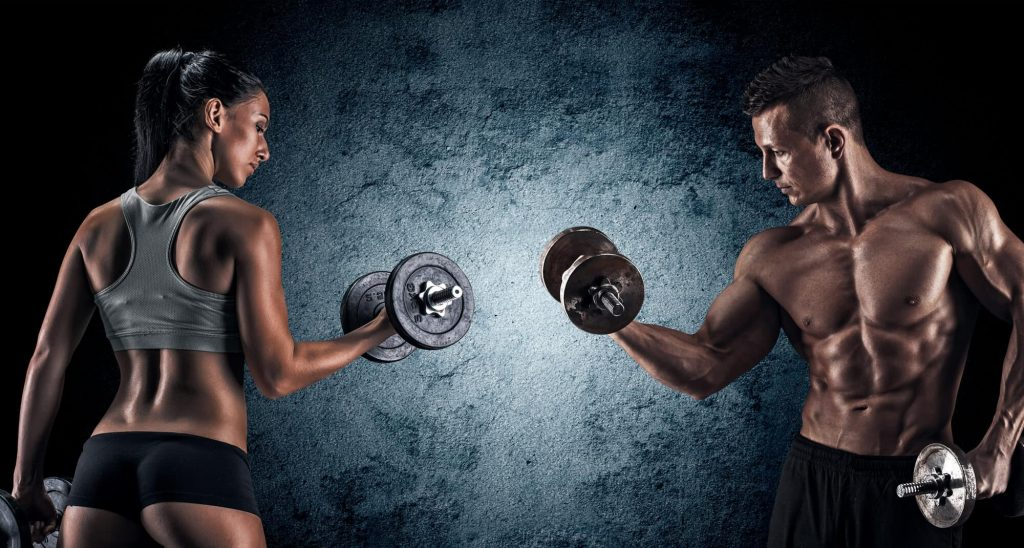 man and woman bodybuilder flexing after using sarms