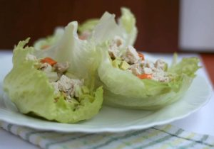psmf diet recipe chicken lettuce snack wraps with chicken, avocado, lime juice and sauce