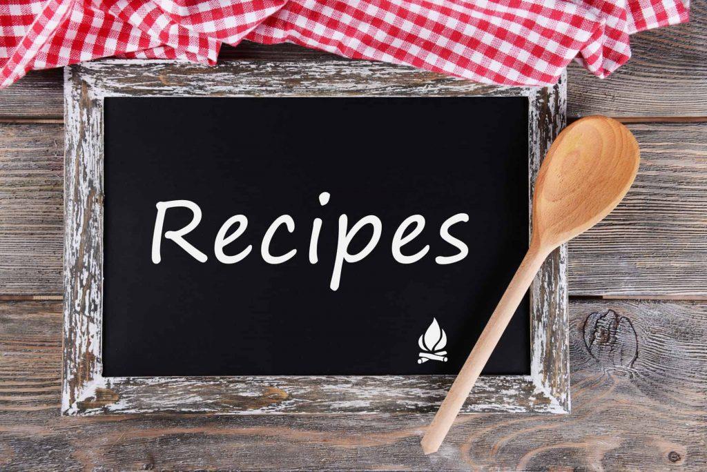 Psmf recipes on black chalkboard